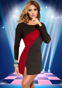 Sexy Black Clubwear Dress With Red Stitching Details