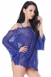 Royal Blue Sexy Women Plus Size Eyelash Lace Off Shoulder 20D Mesh Underwear