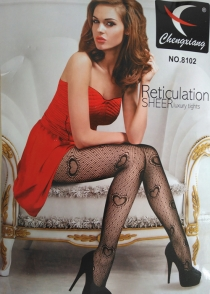 Gorgeous Black Fishnet Pantyhose with Interlocking Heart Design
