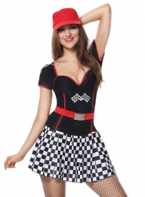 Sexy Light-Up Racer Girl Costume Short Sleeves Dress Sports Costumes