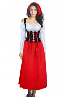 Classic Long Dress Little Red Riding Hood Costume