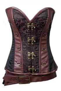 Women Brown Brocade Steampunk Leather Corset With Front Buckles