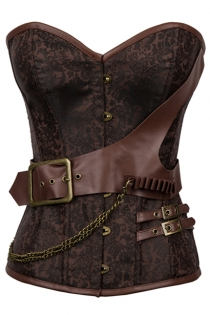 Brown Steel Boned Brocade Steampunk Corset With Thong