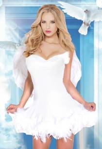 Elegant White Angel Fancy Dress With Wings Halloween Costumes