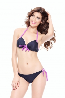 Blue and Purple Halter-Style Bikini Swimsuit With Side-tie Bottoms and Front Tie Accent and Underwire on Top