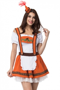 Orange/White Bavarian Oktoberfest Fancy Dress Sexy Beer Girl Costume German Beer Maid Outfits