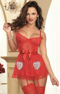 Spicy Red Sheer Lace Babydoll With Thong & Garters Set