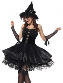 Black Magic Moment Evil Elf Carnival Fancy Corset Dress Sexy Halloween Costume