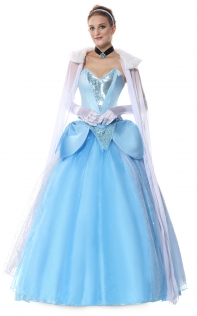 Deluxe Princess Long Gown Fancy Dress Cinderella Costume Fairy Tale Fantasy Cosplay Anime Sexy Halloween Costumes