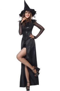 Gothic Black Magic Sorceress Medieval Long Dress Sexy Adult Witch Costume
