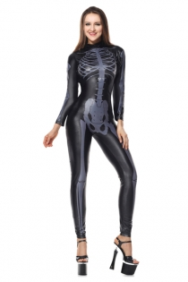 Women's Black Skeleton Jumpsuit Halloween Costume