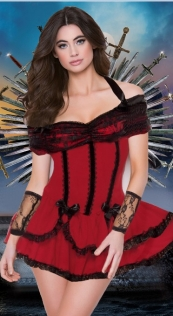Women Gorgeous Red Off-Shoulder Costume With Black Lace Trim