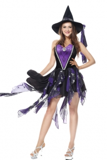 Deluxe Purple/Black Corset Gothic Dress Sexy Witch Halloween Costumes