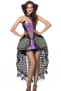 Purple/Black Women Evil Queen Vampire Halloween Deguisement Costume
