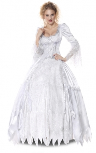 White Deluxe Victorian Vampire Countess Ball Gown Cosplay Zombie Ghost Bride Costume