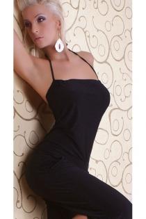 Black Halter Style Sleeveless Jumpsuit Overall Clubwear