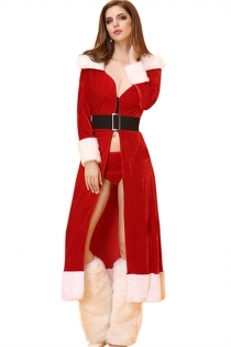 Sexy Red Christmas Long Dress With White Fur Trims And Matching Thongs, Leg Wears