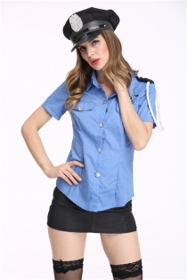 Sexy Policewoman Cosplay Set Adult Halloween Costume With Hat, Stockings Not Included