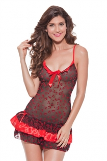 Sweet Cherries Black and Red Babydoll With Ruffle Hem and Neckline Trim and Bows