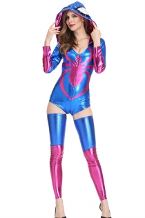 Sexy Blue & Purple Spider Jumpsuit Adult Halloween Costume