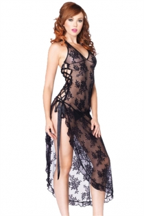 Sexy Plus Size Lingerie Black Floral Lace Nightgown With Matching Thongs