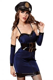 Sexy Cops Girl Costume With Gloves & Hat, Stockings Not Included