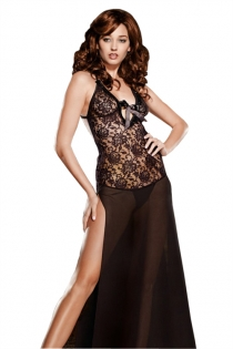 S-6XL Black Floral Lace Halter Sheer Long Gown Dress With Matching Thongs