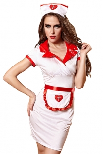 Sexy Nurse Lingerie Dress With Front Apron & Headwear
