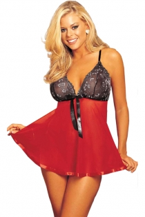 Plus Size Red Sheer Babydoll With Ribbon Trim, Black Lace Bust & Thongs