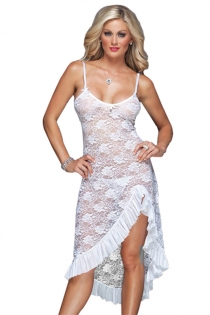 White Plus Size Floral Lace Gown Dress With Matching Thongs