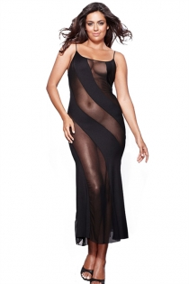 Plus Size Temptingly Lascivious Black Gown With Thongs Set