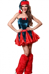 Gorgeous Blue and Red Christmas Dress With Hat & Leg Wears