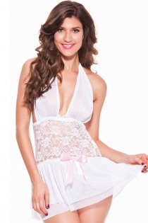 Charming Light Pink Transparent Plunge Halter Top Gorgeous White Lace Mid Body Sequence Pink Ribbon Accent Fine Lower Pleats