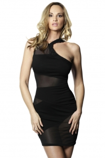 Women Gorgeous Black One-shoulder Mesh Package-hip Bodycon Club Pencil Dress
