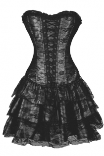 Gorgeous Black Waist Training Corset Dress With Floral Lace Overlay and Ruffle-Layered Skirt, Lace-up Front and Matching Flower on Bust