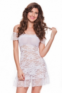 Stunning White Off Shoulder Lace Gauzy Skimpy Baby Doll Overlaid Floral Lace Lower Teasing Back Design
