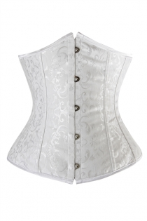 White Victorian Underbust Corset of Subtle Floral Brocade Pattern, Front Busk