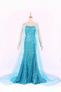 Elsa (Frozen) Mysterious Ocean Blue Costume Dress with Full Sleeves