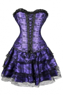 Gorgeous Purple Corset Dress With Floral Lace Overlay and Ruffle-Layered Skirt, Lace-up Front and Black Flower on Bust