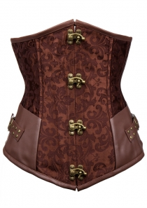 Printed Satin and Leather Corset With Lattice Back and Gold Buckle Detail