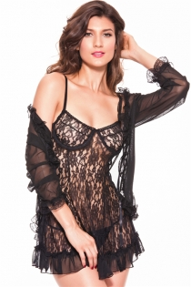 Short Sheer Black Negligee Set With Floral Lace Babydoll and Chiffon Robe With Bell Sleeves and Lace Cuffs