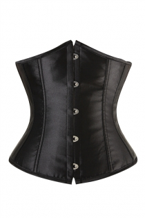 Essential Black Waist Training Corset With Simmering Effect for Every Occasion, Front Busk