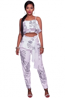 Siamese white digital printing fake two-piece