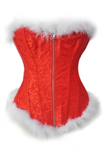 Front Zipper Red Brocade Christmas Corset With White Fur Trim