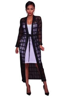 Mesh perspective with long-sleeved dress, White inside not included