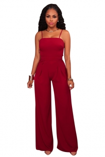 Red sling back lace bell-bottomed pants jumpsuit