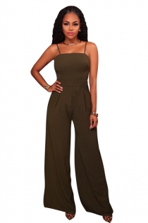 Green sling back lace bell-bottomed pants jumpsuit