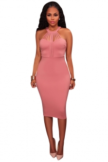 Pink sheath round collar sleeveless knee length dress