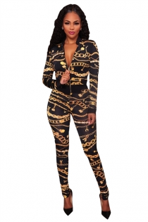 Chain digital printing long-sleeved two-piece suit