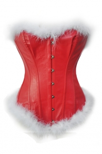 Red Leather Christmas Corset With White Fur Trim